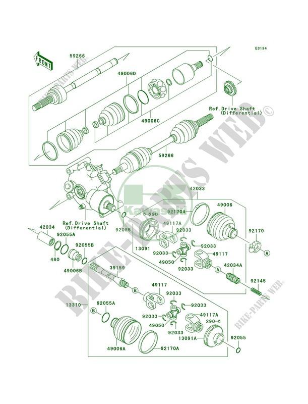 Drive Shaft Kawasaki Prairie 400 4X4 2001 400 KVF400C3 20766 – Kawasaki Prairie 400 Engine Diagram