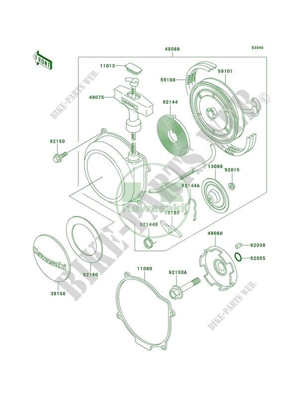 Recoil Starter Kawasaki Prairie 400 4X4 1998 400 KVF400A2 20790 – Kawasaki Prairie 400 Engine Diagram