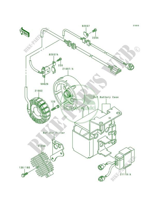 87 Kawasaki Klf300 Klf 300 A2 Bayou Oem Wire Harness Manual Guide
