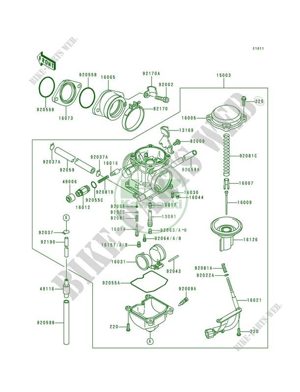 Carburetor Kawasaki Bayou 300 4X4 1989 300 KLF300-C1 20826 ...