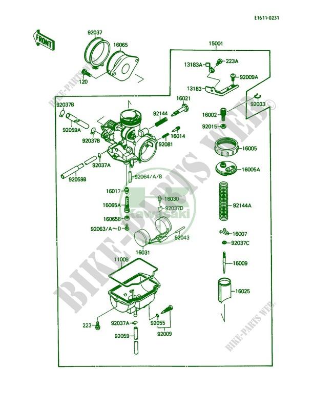 1987-1988 KAWASAKI KLF110 MOJAVE KLF 110 B Carburetor 15001-1272