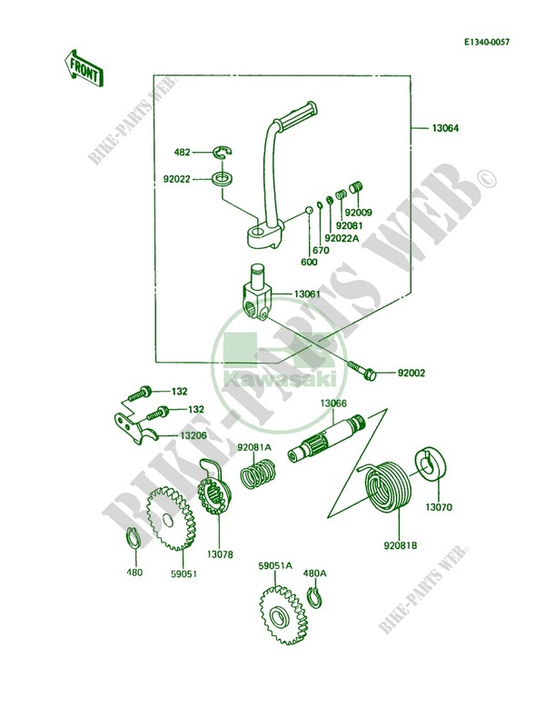 Kickstarter Mechanism for Kawasaki KX80 1990