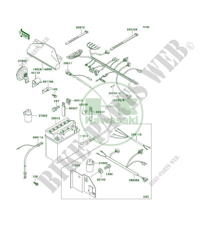 chassis electrical equipment klf400 b2 klf400 4x4 1994 400 quad Basic Electrical Wiring Diagrams at 1994 Klf400b Wiring Diagram