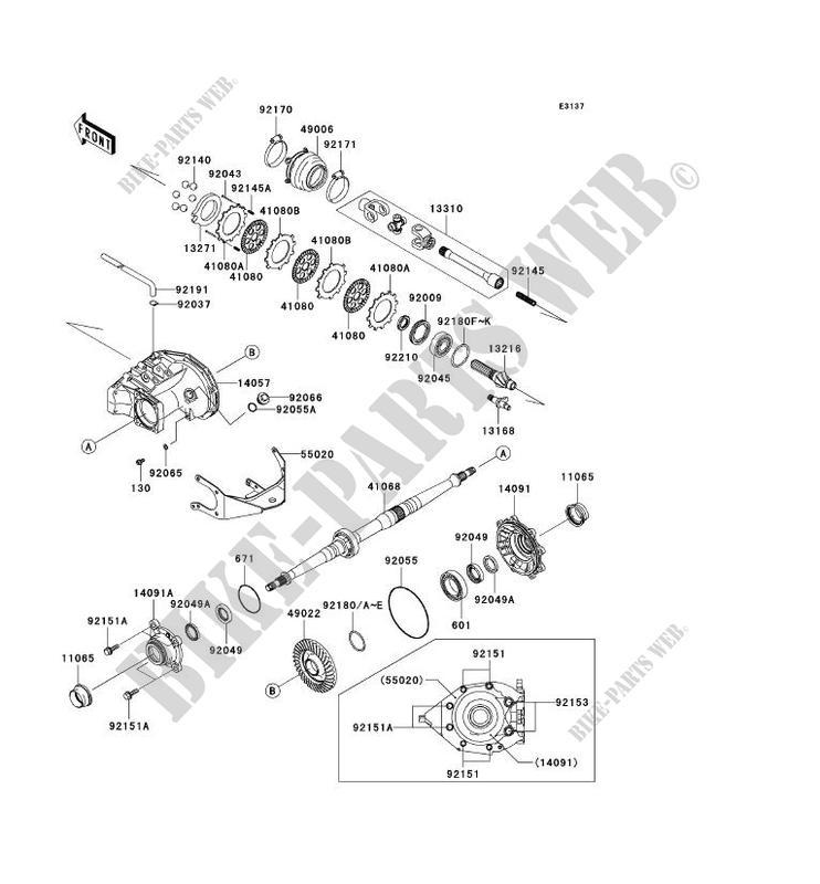 Drive Shaft Arriere Kvf700 A1 Kvf700 4x4 2004 700 Quad Kawasaki