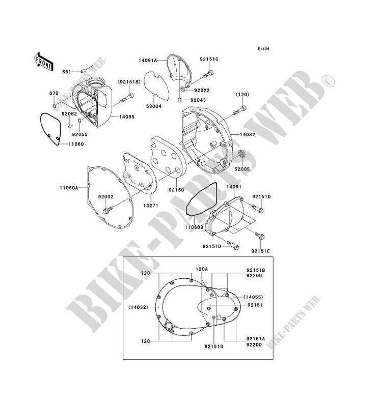 Kawasaki MOTOS 650 2002 W650  EJ650-C4 EJ650-C4 RIGHT ENGINE COVER(S)