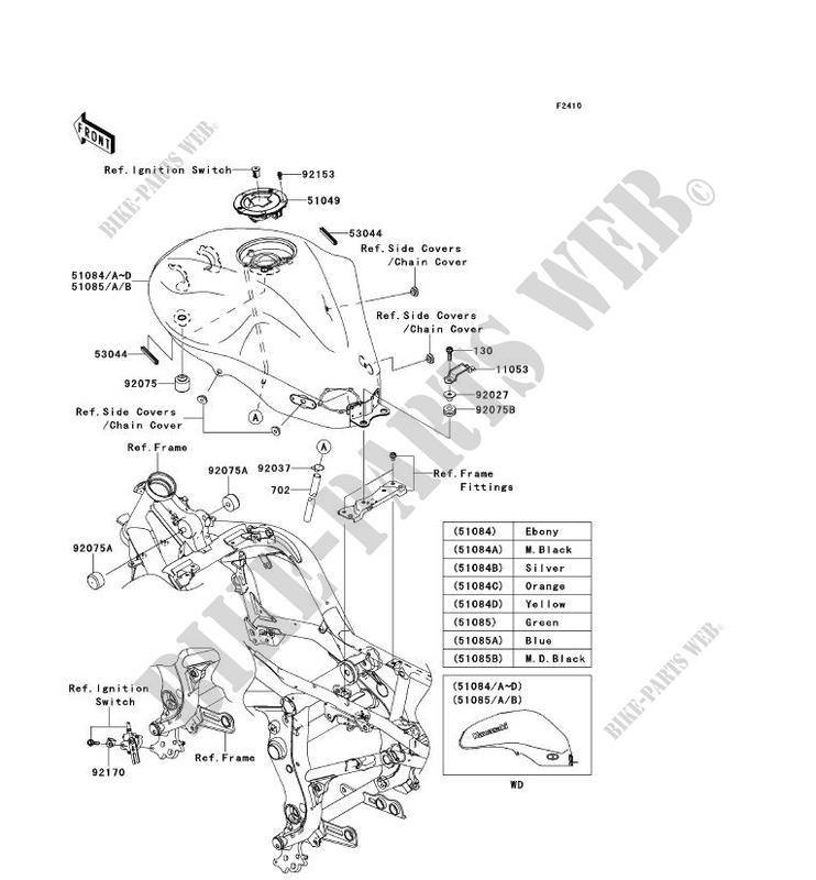 Fuel Tank Er650b7f Er 6n Abs 2007 650 Motos Kawasaki Motorcycle