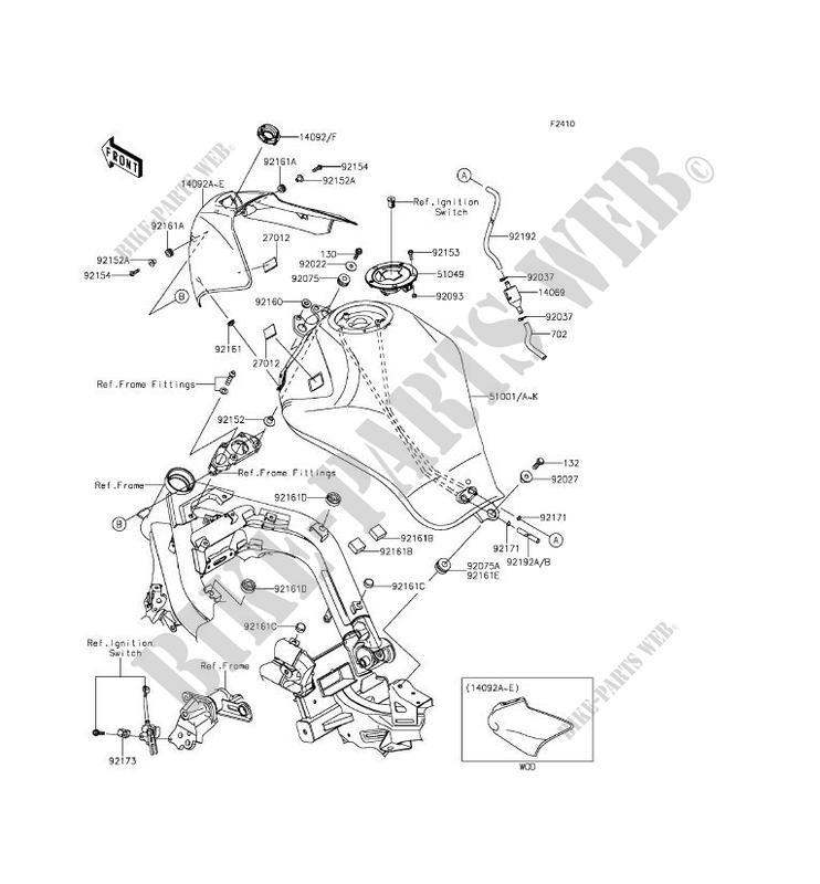 Fuel Tank Er650fef Er 6n Abs 2014 650 Motos Kawasaki Motorcycle