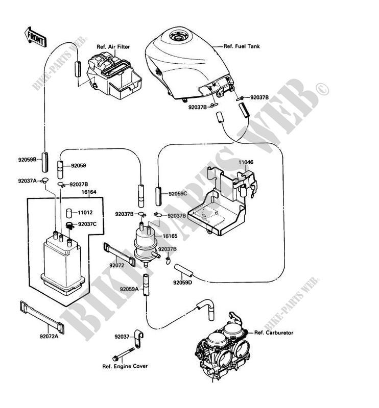 Fuel Evaporation System Ex250 F3 Ninja 250r 1989 250 Motos Kawasaki