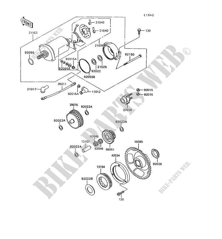 starter motor kl600 b8 klr600 1993 600 motos kawasaki motorcycle rh bike parts kawa com KLR 600 Review 1985 KLR 600 Specs