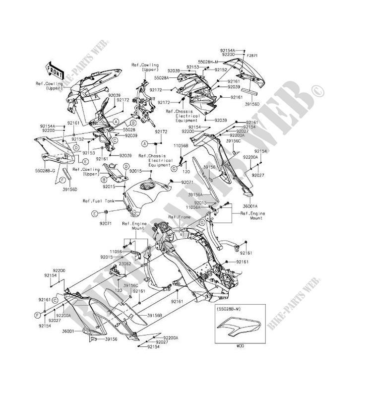 Cowling Centrale Klz1000bff Versys 1000 2015 1000 Motos Kawasaki