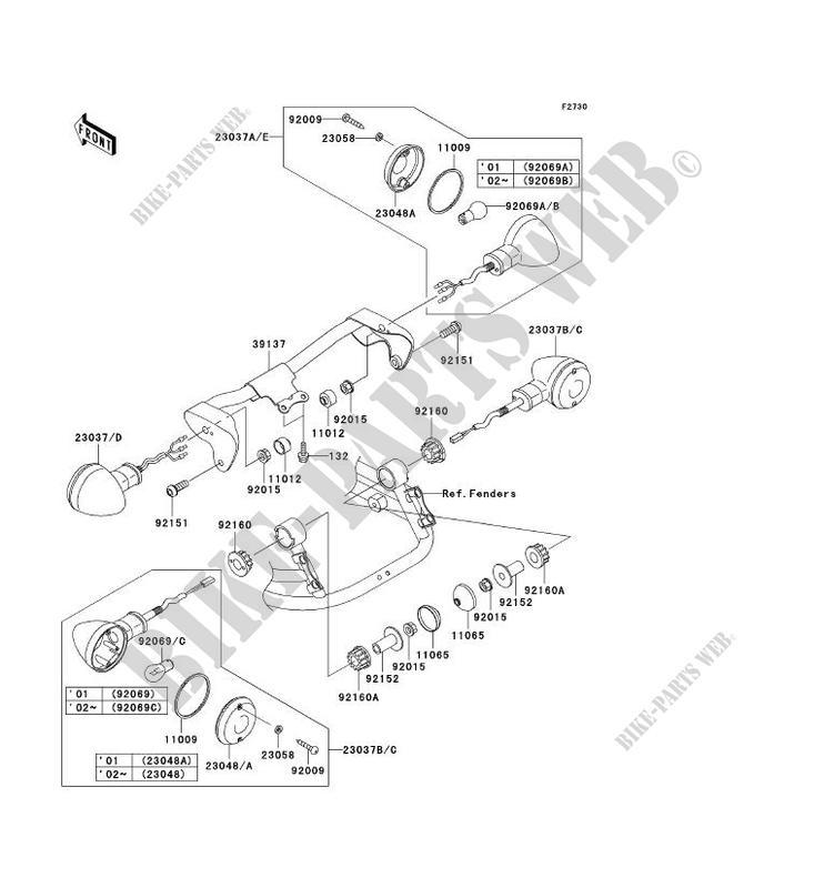 kawasaki motos 1500 2001 vn1500 drifter vn1500-r1 vn1500-r1 indicators