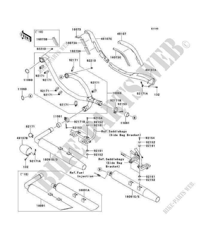 Exhaust Vn1700daf Vn1700 Classic Tourer Abs 2010 1700 Motos Kawasaki
