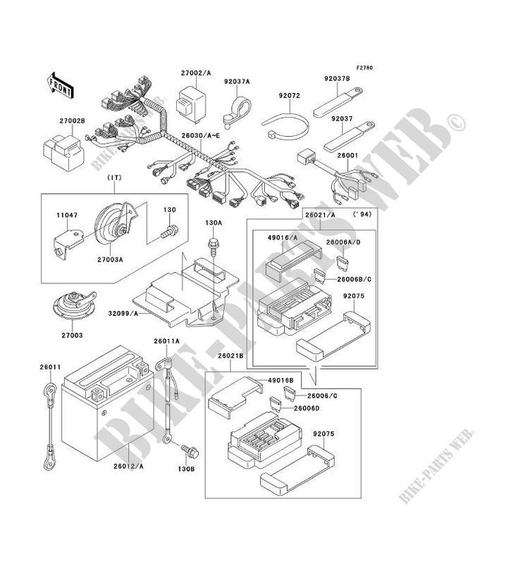 kawasaki motos 400 1995 zxr400 zx400-l5 zx400-l5 chassis electrical  equipment