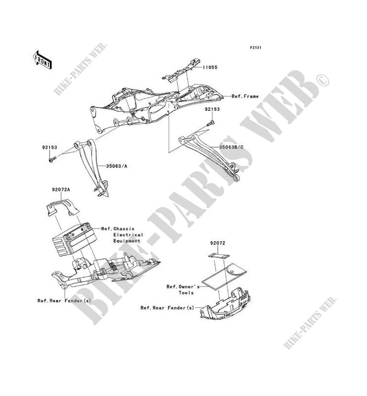 FRAME PARTS ARRIERE ZX600RDF NINJA ZX 6R 2013 600 MOTOS Kawasaki