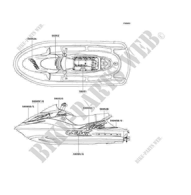 STICKERWHITE Kawasaki JET SKI ULTRA 150 1999 1200 JH1200A1 7369 – Kawasaki Ultra 150 Engine Diagram
