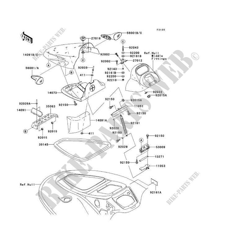 Front Hull Parts For Kawasaki Jet Ski Stx