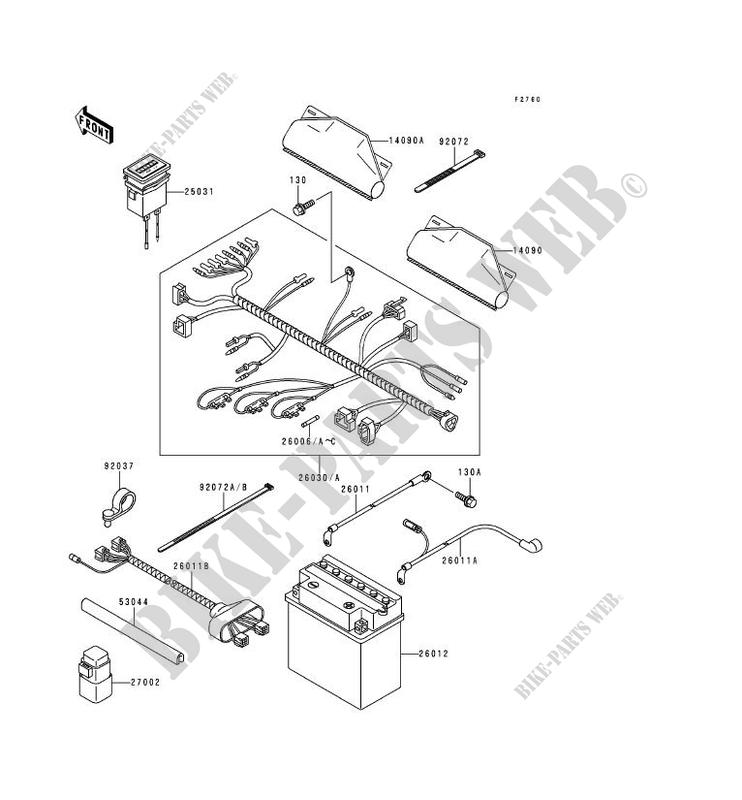 kawasaki ssv 620 1995 mule 2500 kaf620-c1 kaf620-c1 chassis electrical  equipment