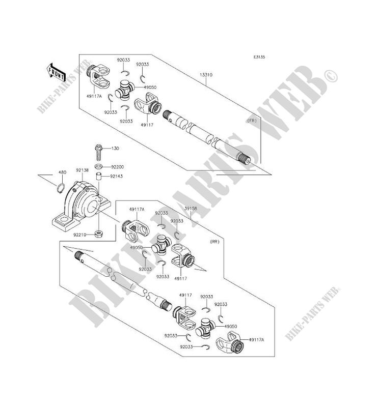 £50+VAT Rear drive shaft c//w UJs.. n//s or o//s. X Kawasaki Mule 620C...