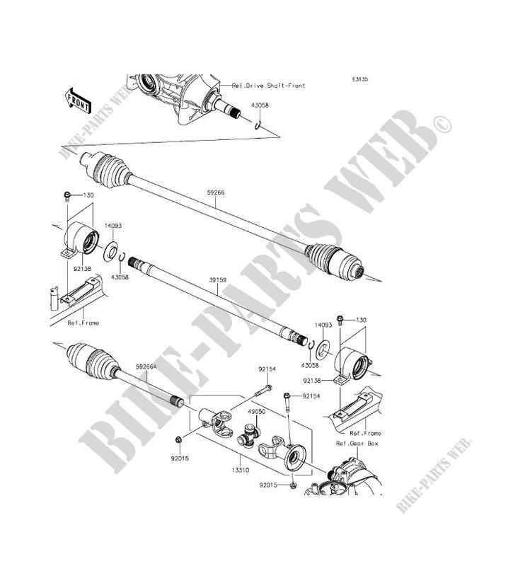 Drive Shaft Helice Kaf820dff Mule Pro Fxt 2015 820 Ssv Kawasaki