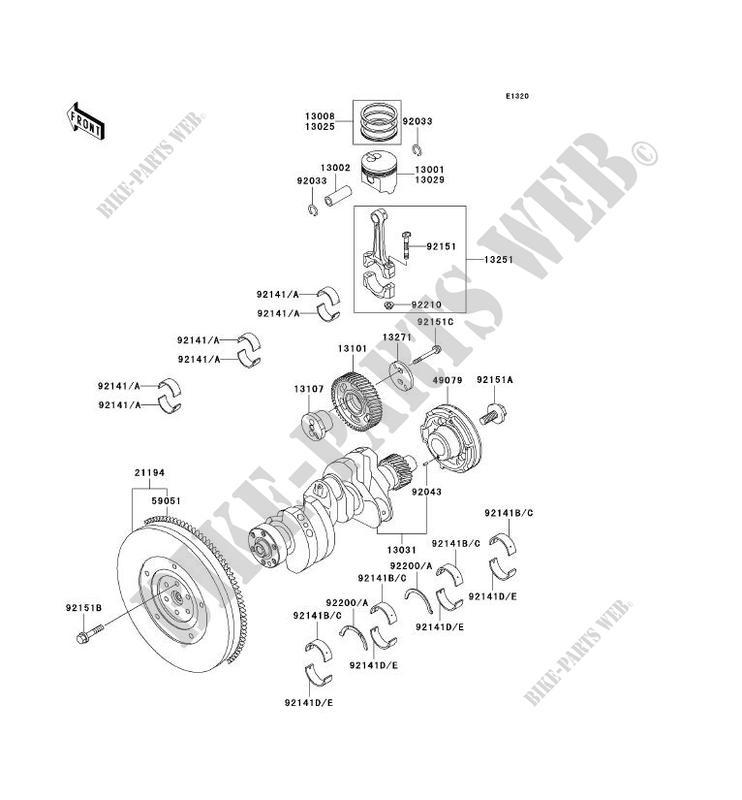 Crankshaft Piston Kawasaki Mule 2510 Diesel Noyear 950 Kaf950