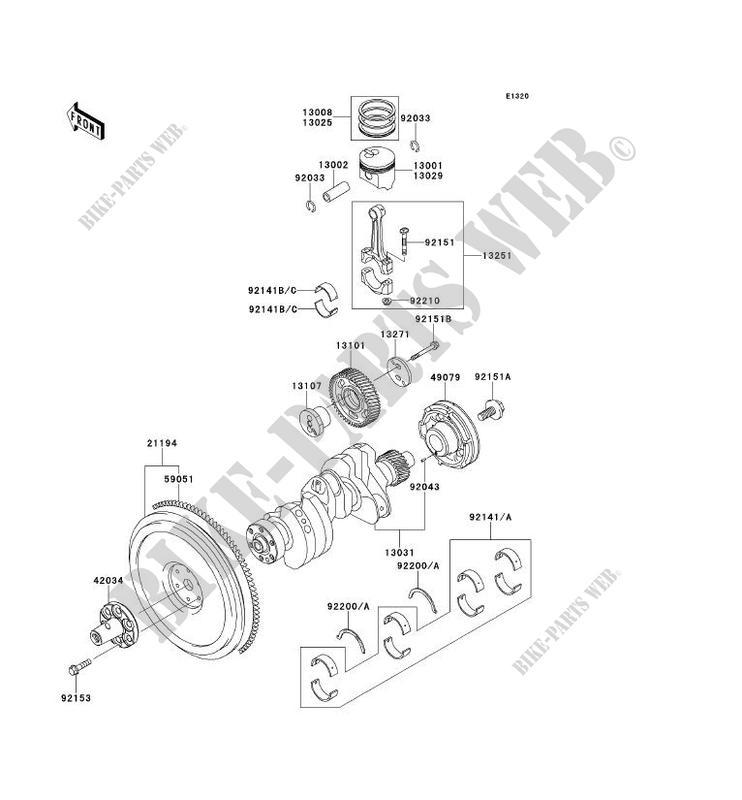 crankshaft - piston kawasaki mule 4010 trans 4x4 diesel 2011 950