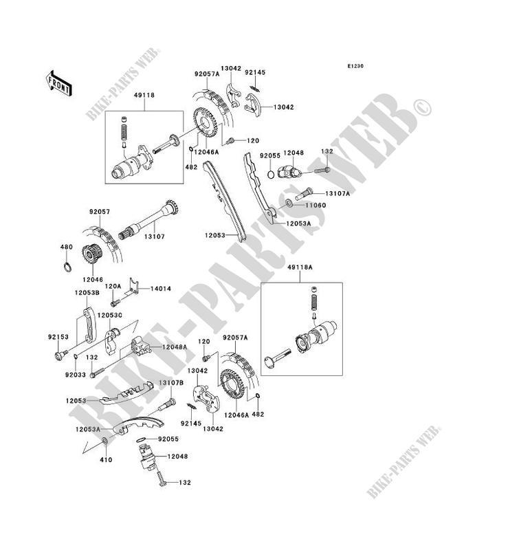 kawasaki ssv 750 2010 teryx 750 fi 4x4 sport krf750safa krf750safa camshaft  - tensioner