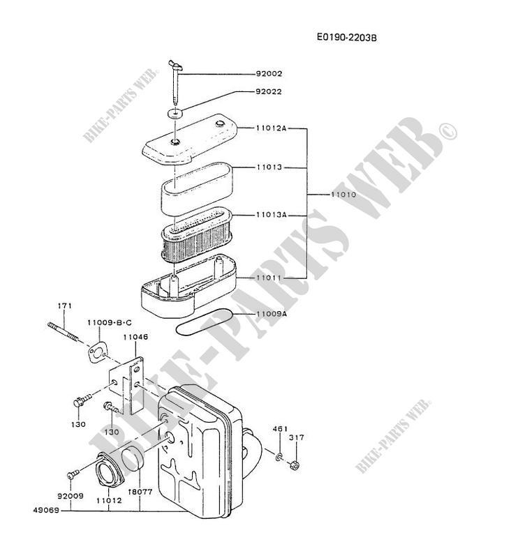 AIR FILTER/EXHAUST for Kawasaki FB MOTORS FB460V #