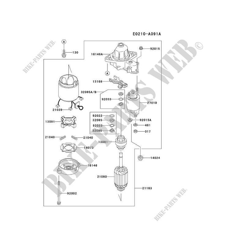 kawasaki petits moteurs fd fd501v fd motors fd501v-bs00 fd501v-bs00 starter  motor
