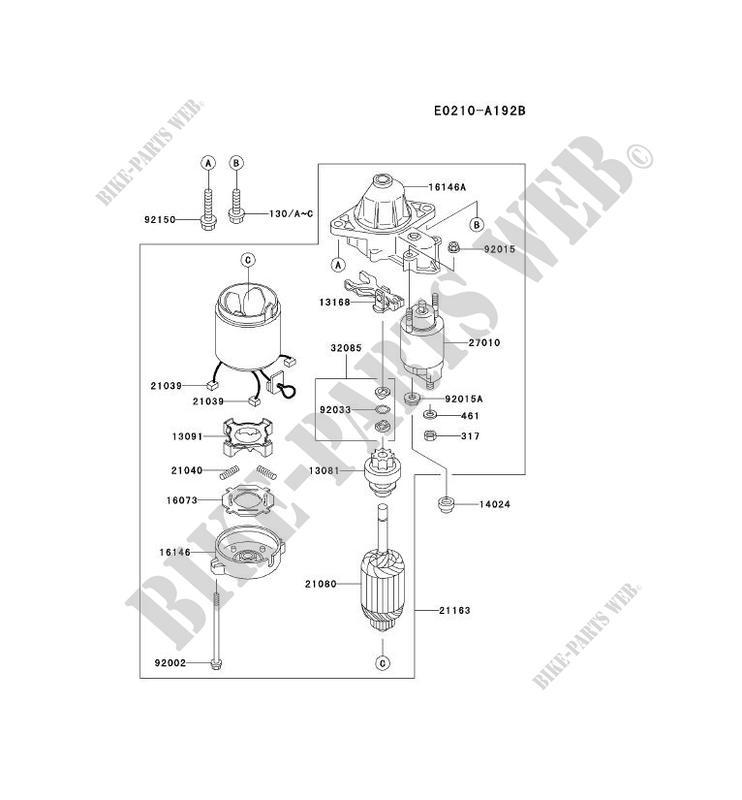 kawasaki petits moteurs fd fd501v fd motors fd501v-cs04 fd501v-cs04 starter  motor