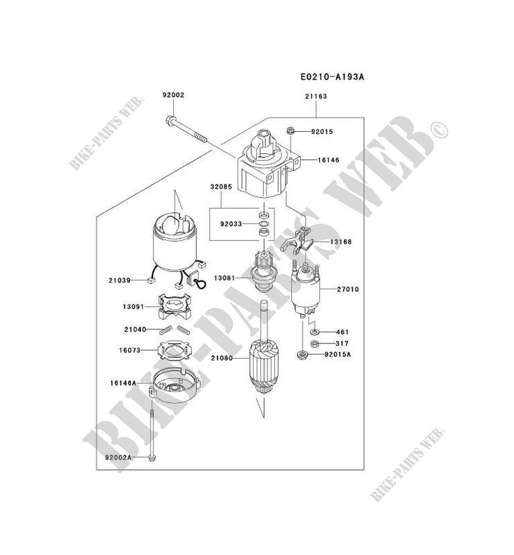 starter motor kawasaki fh motors fh680v fh fh680v-bs16 24657