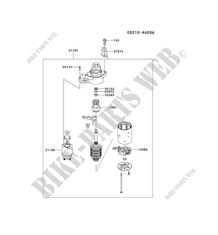 STARTER MOTOR(~FX751 A15601) for Kawasaki FX MOTORS FX751V ... on