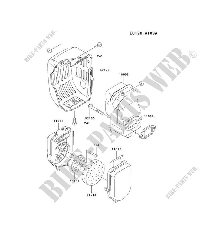 air filter exhaust kawasaki td motors td040j td td040j ac61 26398 rh bike parts kawa com Kawasaki Power Tool Parts Kawasaki Engine Parts Lookup