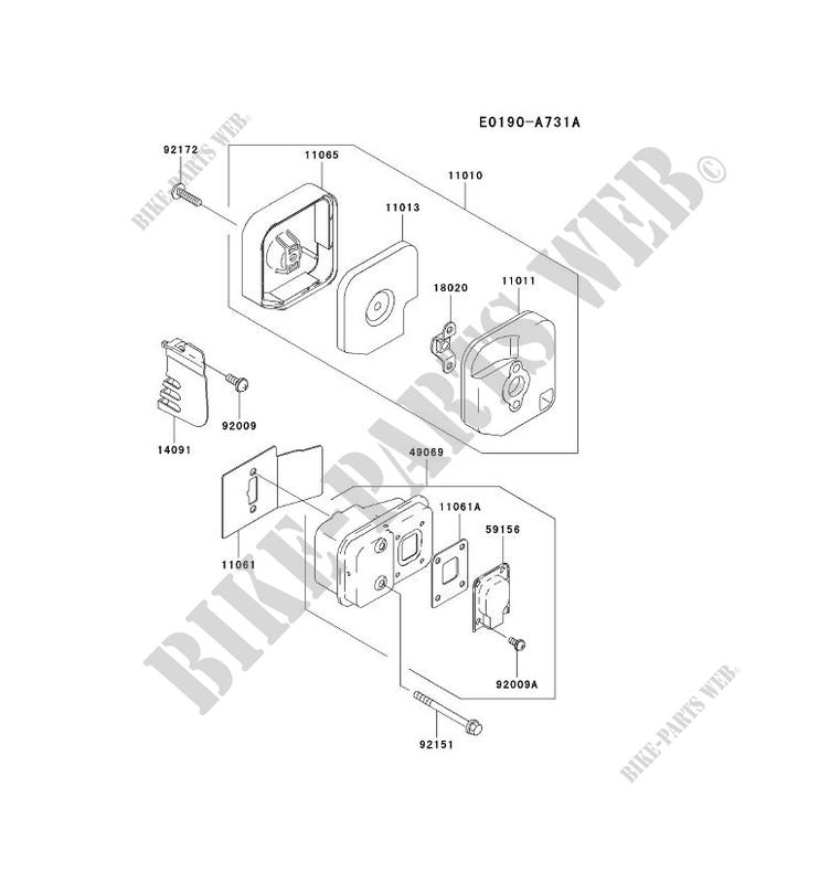 air filter  exhaust kawasaki th motors th023v th th023v-ac55 27247