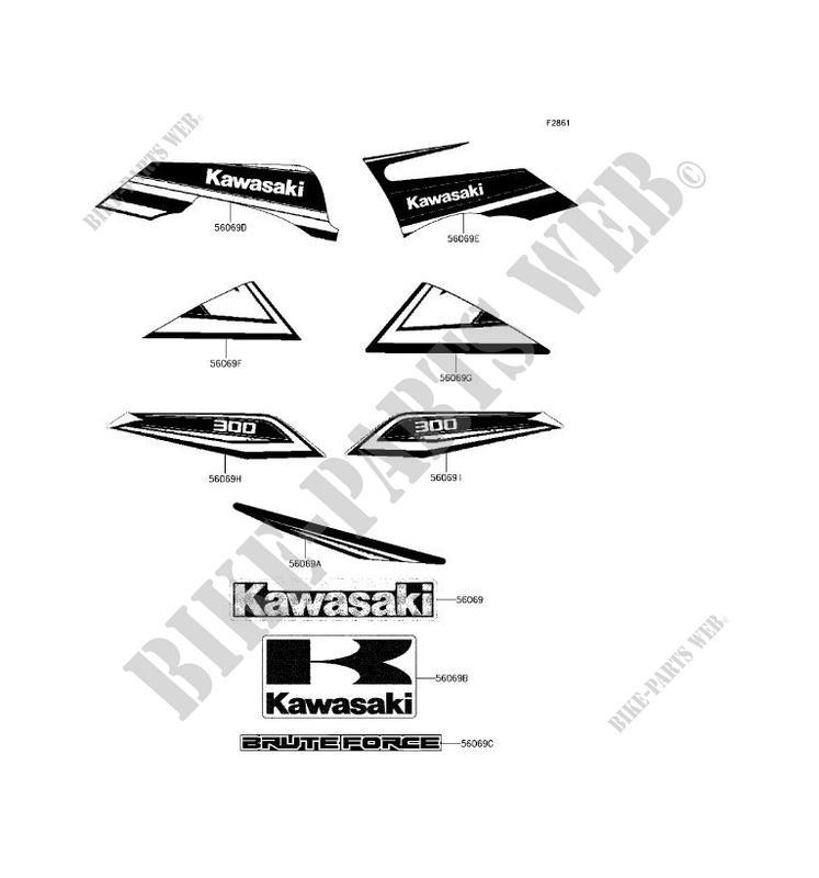 Sticker Noir For Kawasaki Brute Force 300 2017 Kawasaki