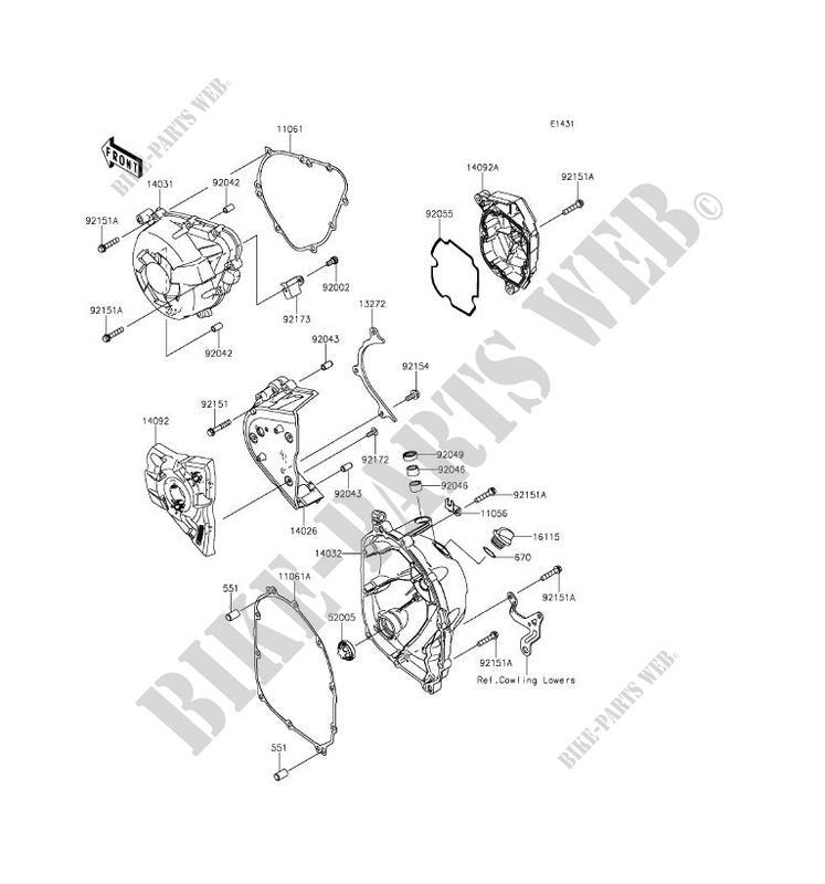 Engine Covers Klz1000bgf Versys 1000 2016 1000 Motos Kawasaki