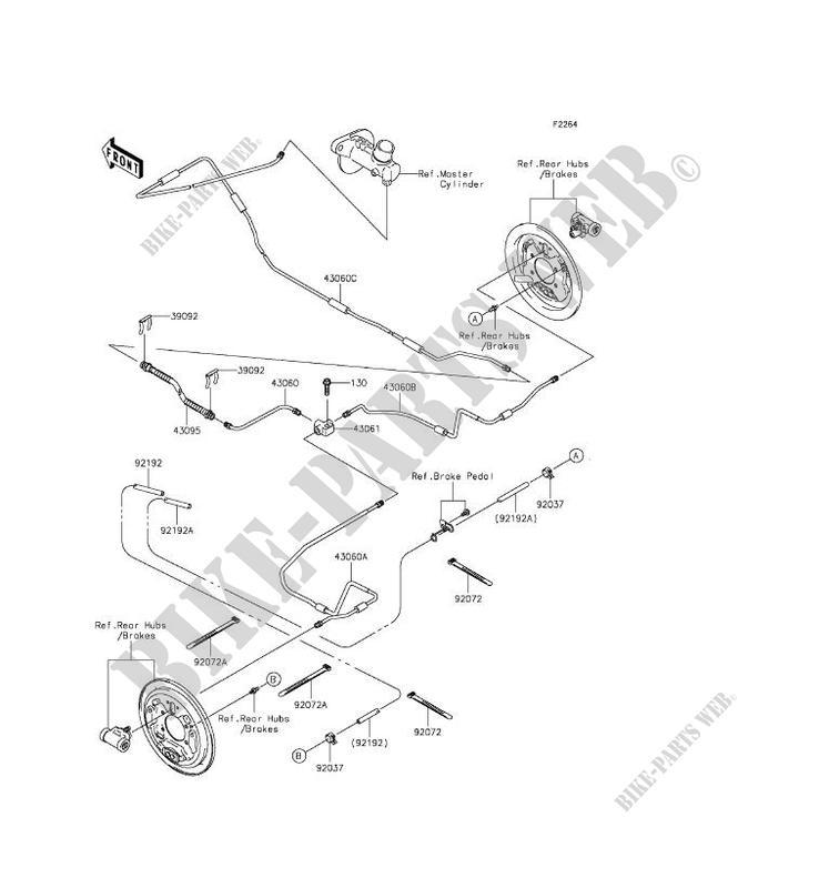 rear brake pipe kawasaki mule 610 4x4 xc 2016 400 kaf400dgf 28350 kawasaki