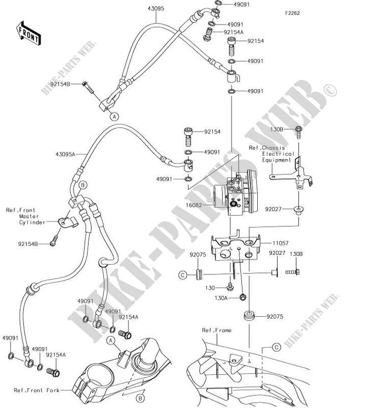 Durite De Frein Zx1002bjf Ninja H2 Sx 2018 1000 Motos Kawasaki