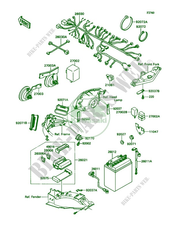 electrical equipment for kawasaki ninja zx-11 1990 # kawasaki - genuine  spare parts catalog online  kawasaki genuine spare parts catalogue