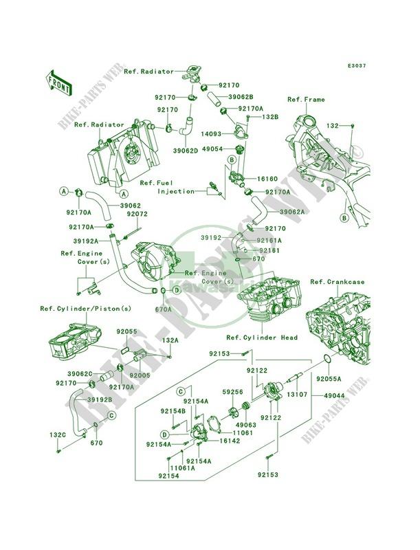 Water Pipe For Kawasaki Ninja 300 Se 2014 Kawasaki Genuine Spare Parts Catalog Online