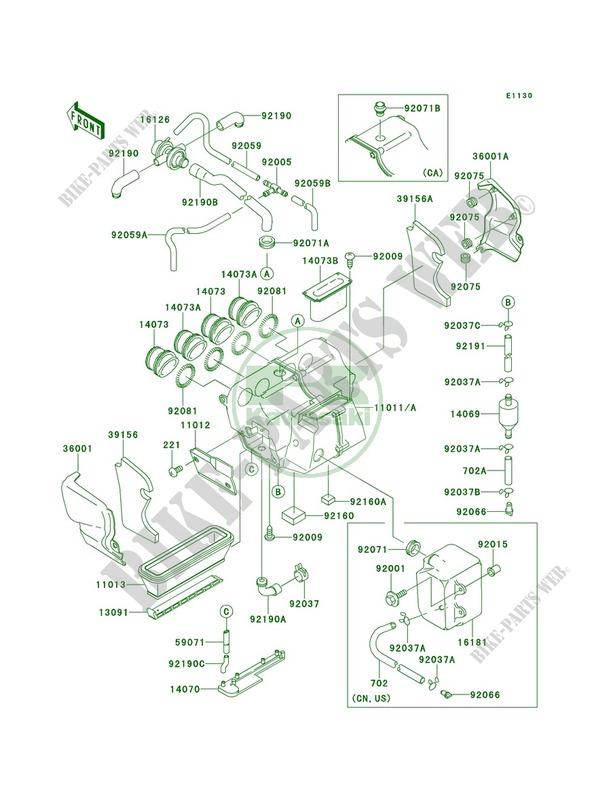 kawasaki motos 1100 1995 gpz 1100 zx1100 e1 zx1100 e1 air cleaner